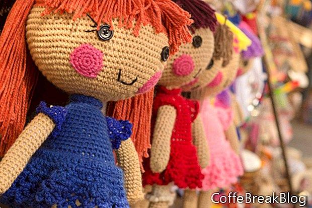 Postavitev stojalnih ovratnic na obleke za punčke